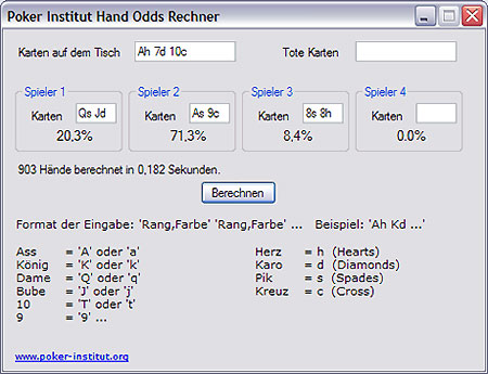 Hand Odds Rechner Screen